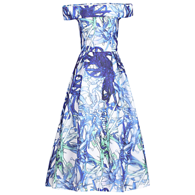 Jolie Moi 3D Tropical Print Bardot Dress, Blue