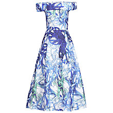 Buy Jolie Moi 3D Tropical Print Bardot Dress, Blue Online at johnlewis.com