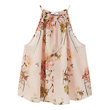 Buy Mango Flowy Print Top, Pastel Orange Online at johnlewis.com