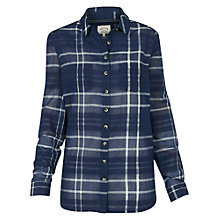 Buy Fat Face Boyfriend Slub Check Shirt, Navy Online at johnlewis.com