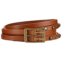 Buy John Lewis Hick Skinny Double Leather Belt, Tan Online at johnlewis.com
