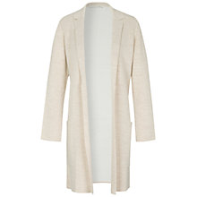 Buy Oui Longline Revere Collar Knitted Coatigan, White/Off White Online at johnlewis.com