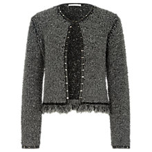 Buy Oui Studded Knitted Jacket, Light Grey Online at johnlewis.com