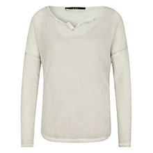 Buy Oui Double Layer Batwing Mesh Jumper, Light Grey Online at johnlewis.com