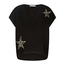 Buy Oui Cap Sleeve Embellished Star Blouse, Black Online at johnlewis.com