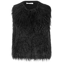 Buy Oui Faux Fur Gilet, Black Online at johnlewis.com