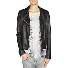Buy Oui Leather Biker Jacket, Black Online at johnlewis.com