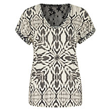 Buy Oui Lace Back Detail Printed Top, White/Grey Online at johnlewis.com
