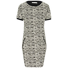 Buy Oui Textured Zip Detail Dress, Black/White Online at johnlewis.com