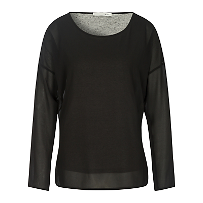 Oui Double Layer Tunic Top, Black/Grey