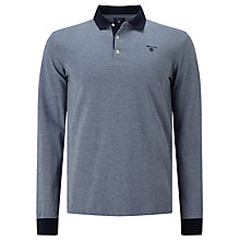 Buy Gant Oxford Pique Rugger Long Sleeve Rugby Top, Marine Online at johnlewis.com