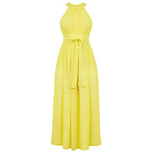 Buy Warehouse Halter Neck Tie Waist Dress, Yellow Online at johnlewis.com