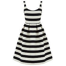 Buy Warehouse Stripe Prom Dress, Black/White Online at johnlewis.com