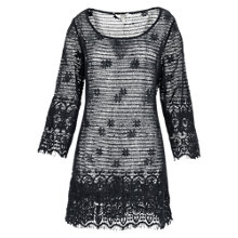 Buy Fat Face Elbury Crochet Beach Dress, Black Online at johnlewis.com