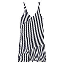 Buy Mango Flowy Striped V Neck Dress, Natural White Online at johnlewis.com
