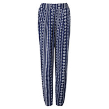 Buy East Aztec Print Harem Trousers, Navy Online at johnlewis.com