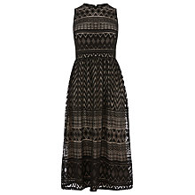 Buy Warehouse Zig Zag Lace Midi Dress, Black Online at johnlewis.com