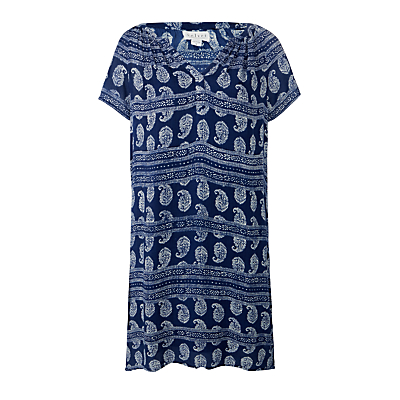 Velvet Lacey Print Gauze Dress, Navy