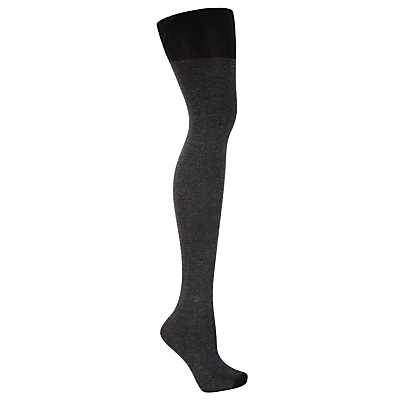 John Lewis 100 Denier Mini Honeycomb Tights, Black/Grey