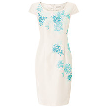 Buy Jacques Vert Petite Embroidered Shift Dress, Cream/Blue Online at johnlewis.com