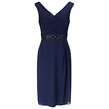 Buy Jacques Vert Side Pleat Embellished Dress, Navy Online at johnlewis.com