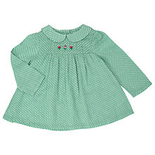 Buy John Lewis Baby Embroidered Flower Swing Top, Green Online at johnlewis.com