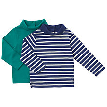 Buy John Lewis Baby Roll Neck Top, Pack of 2, Navy/Green Online at johnlewis.com