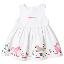 Buy John Lewis Baby Tweed Embroidered Dress, Cream Online at johnlewis.com