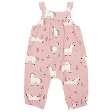 Buy John Lewis Baby Unicorn Cord Dungarees, Pink Online at johnlewis.com