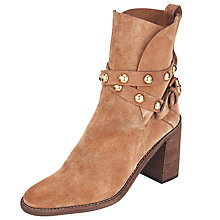 Buy See by Chloé Janis Block Heeled Ankle Boots, Tan Online at johnlewis.com