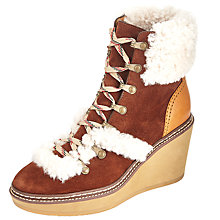 Buy See by Chloé Eileen Wedge Heeled Ankle Boots, Tan Online at johnlewis.com