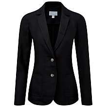 Buy Pure Collection Dacre Laundered Linen Jacket, Black Online at johnlewis.com