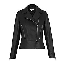 Buy Whistles Carmen Leather Biker Jacket, Black Online at johnlewis.com
