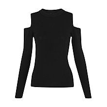 Buy Whistles Cold Shoulder Knit Top, Black Online at johnlewis.com