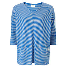 Buy East Stripe Rib Jersey Top, Ocean Online at johnlewis.com