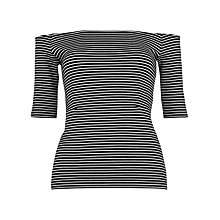 Buy Whistles Stripe Bardot Top, Black/Multi Online at johnlewis.com