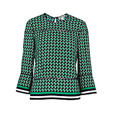 Buy Whistles Foulard Silk Top, Green/Multi Online at johnlewis.com