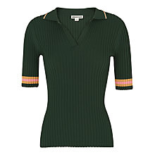 Buy Whistles Tipped Stripe Polo Shirt, Dark Green Online at johnlewis.com