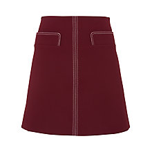 Buy Whistles Rita Contrast Stitch Skirt, Burgundy Online at johnlewis.com