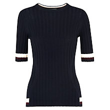 Buy Whistles Rib Tipped Knit T-Shirt, Navy Online at johnlewis.com