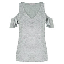 Buy Oasis Silver Foil Cold Shoulder Top, Silver Online at johnlewis.com
