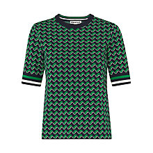 Buy Whistles Foulard Jacquard T-Shirt, Green/Multi Online at johnlewis.com