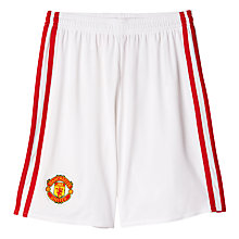 Buy Adidas Boys' Manchester United FC Home Shorts 2016/17, White/Red Online at johnlewis.com