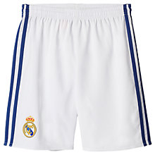 Buy Adidas 2016/17 Real Madrid Home Boys' Football Shorts, Crystal White/Onix Online at johnlewis.com