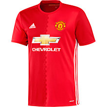 Buy Adidas 2016/17 Manchester United Home Shirt, Red Online at johnlewis.com