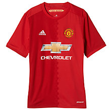 Buy Adidas Boys' 2016/17 Manchester United Home Shirt, Red Online at johnlewis.com