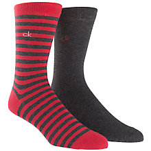 Buy Calvin Klein Bar Stripe Socks, Pack of 2, Red/Grey Online at johnlewis.com