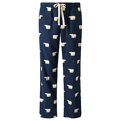 John Lewis Polar Bear Print Lounge Pants, Navy