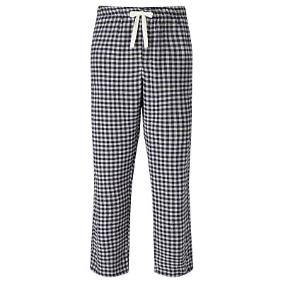 John Lewis Bodmin Check Brushed Cotton Lounge Pants, Blue/Grey