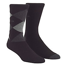 Buy Calvin Klein Argyle Plain Cotton Socks, Pack of 2, Black Online at johnlewis.com